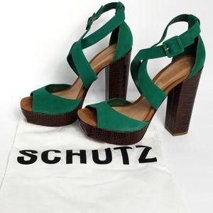 Schultz green strappy heels size 10B